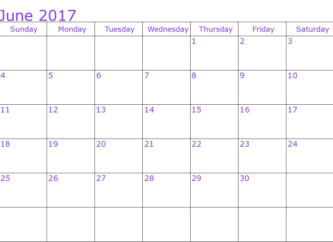 Calendar For June 2017 Picture