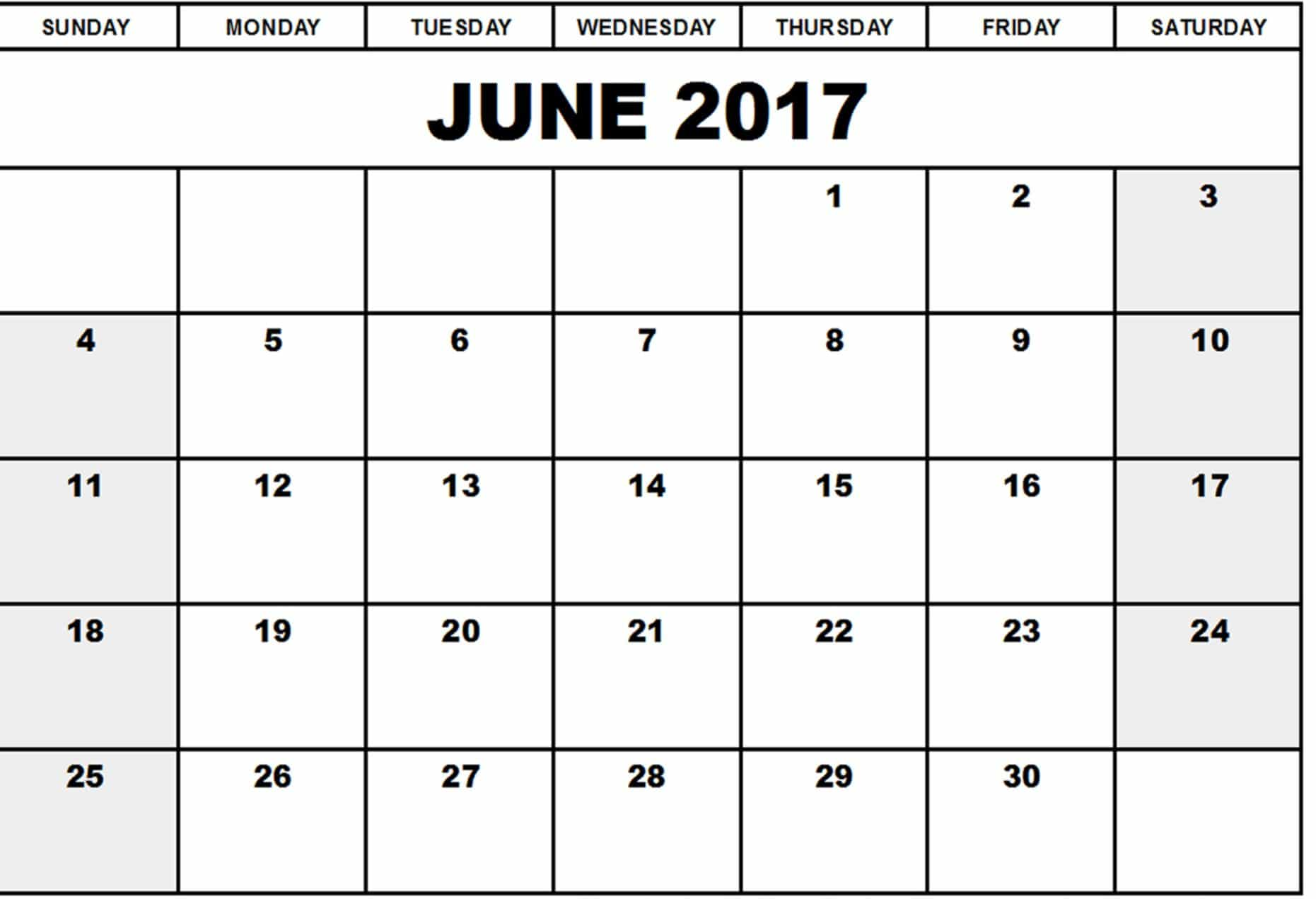 Calendar For June 2017 Printable
