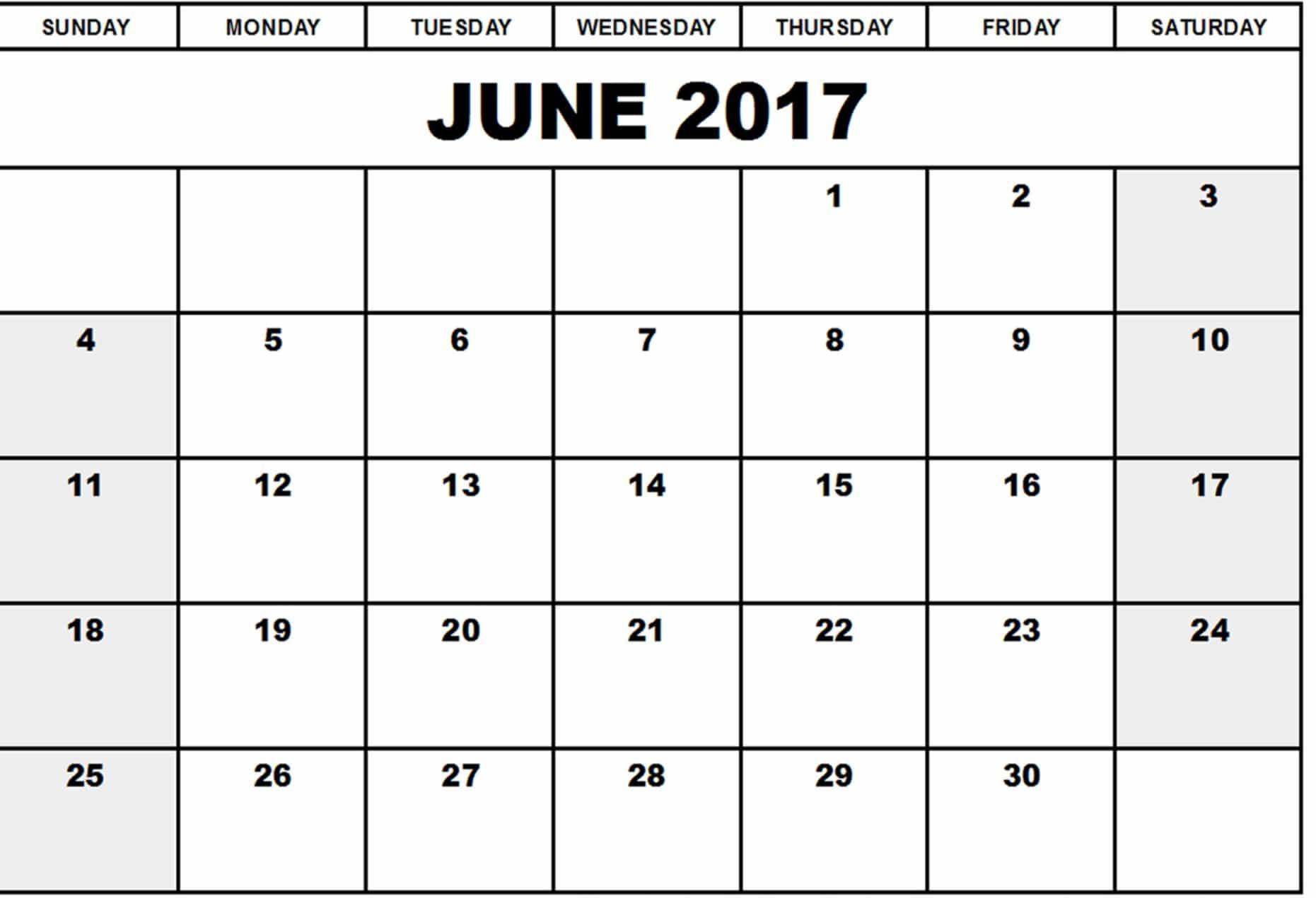 Calendar For June 2017 Printable