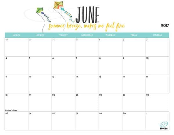 Cute June 2017 Colorful Calendar Template For Kids Free Hd Images