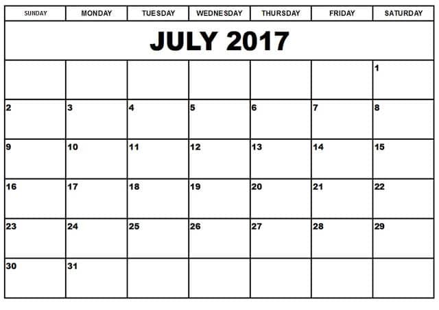 Calendar For July 2017 Printable