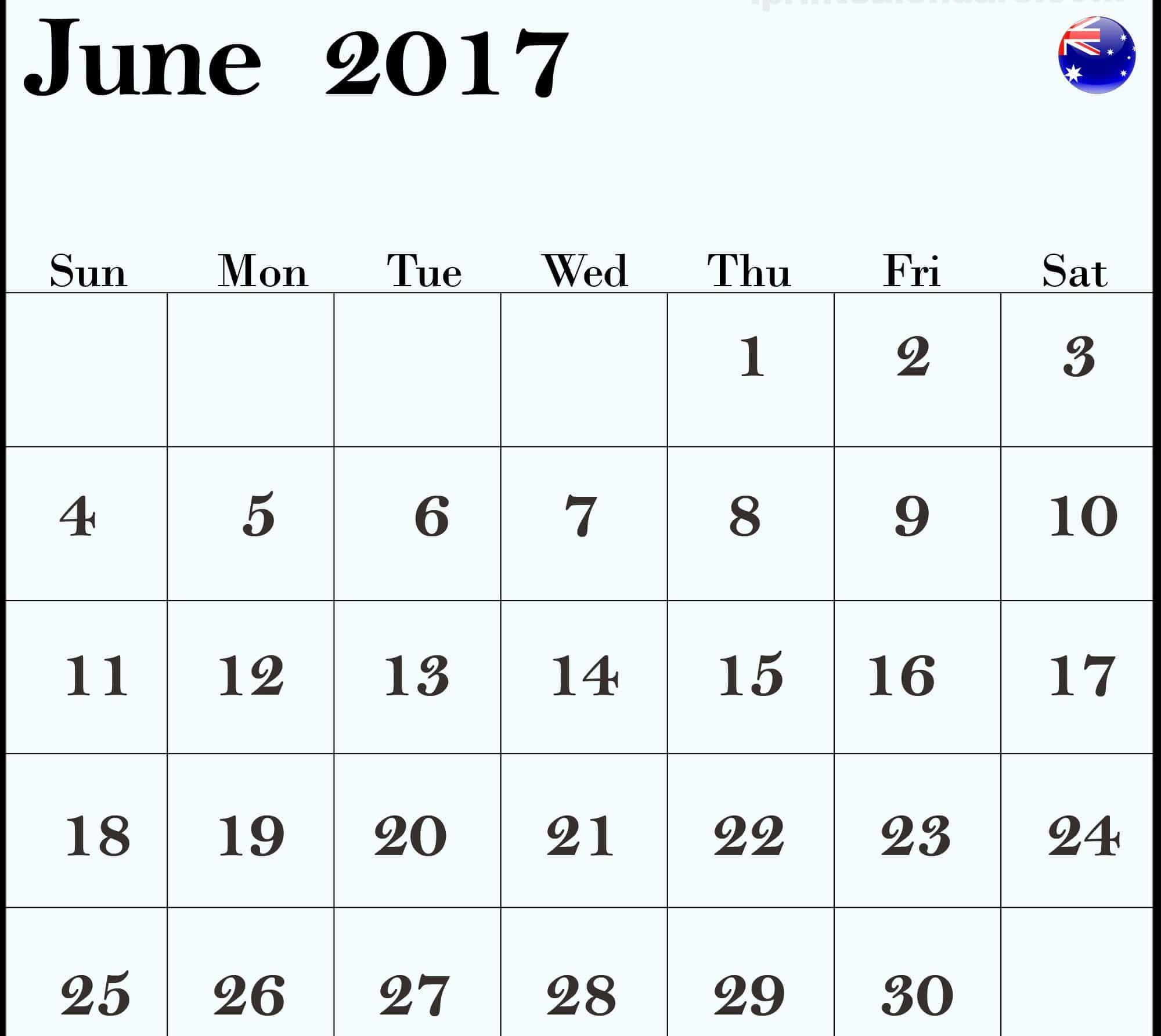 Download June 2017 calendar Australia