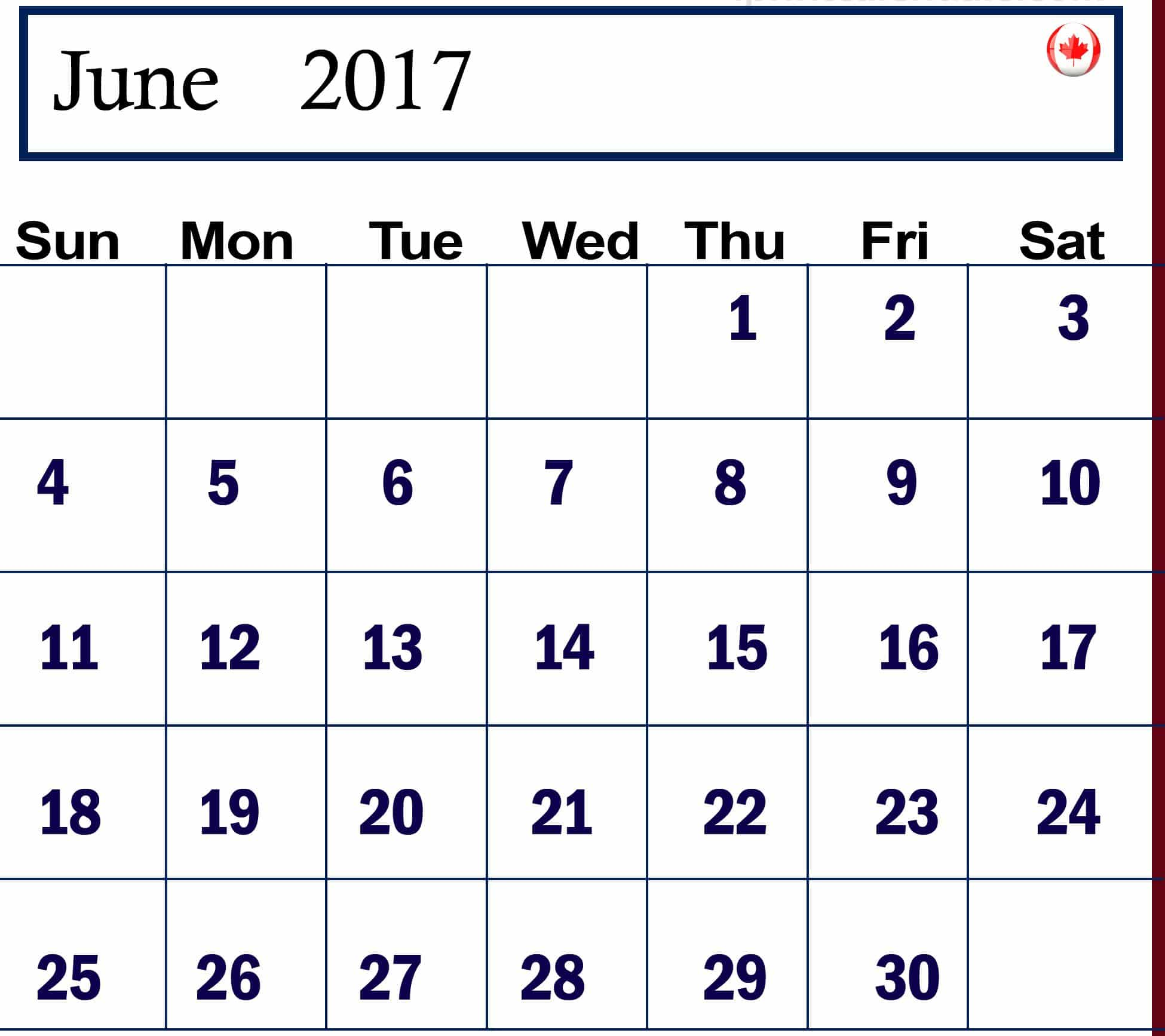 Download June 2017 calendar Canada