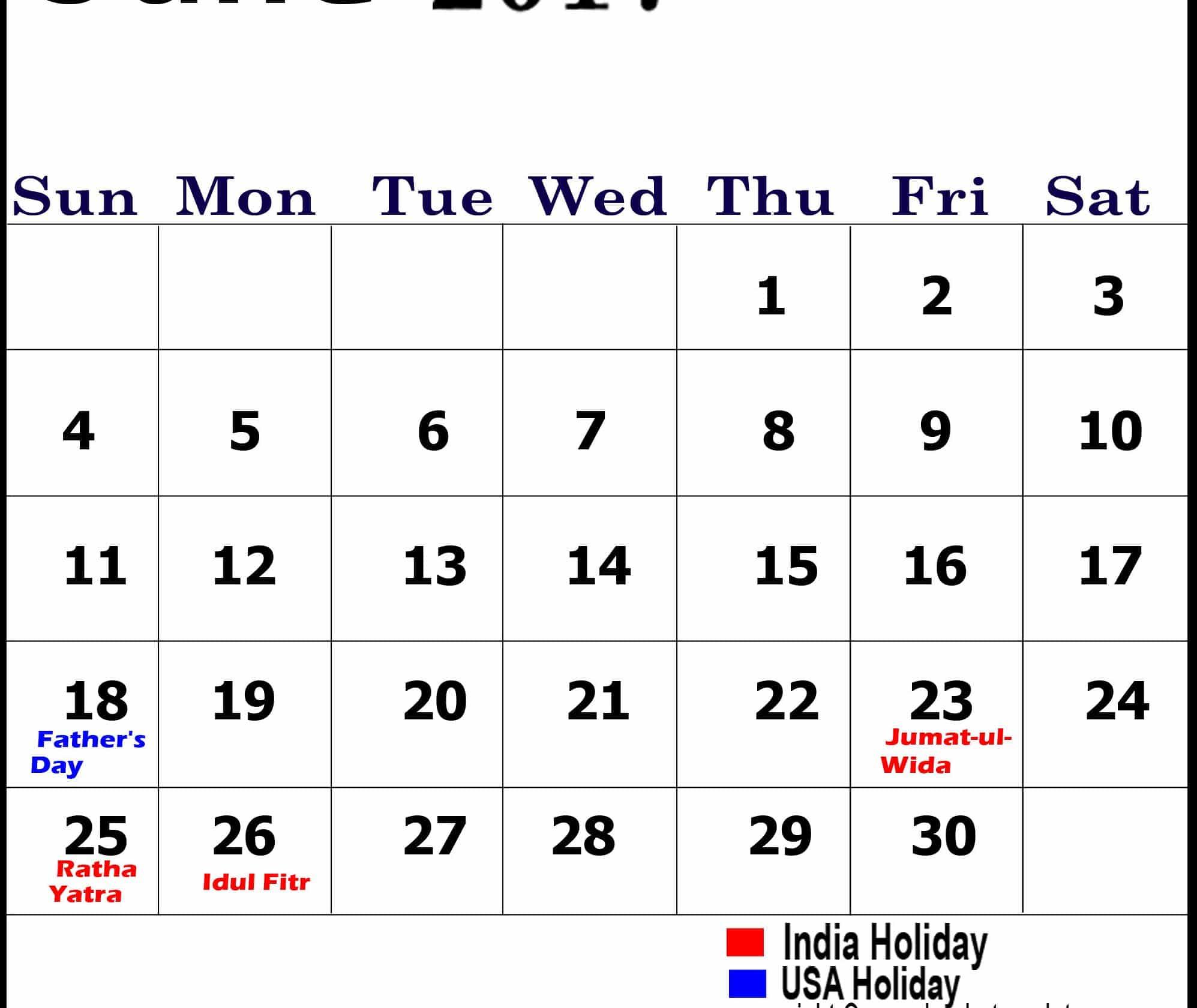 Download June Calendar 2017 In UK