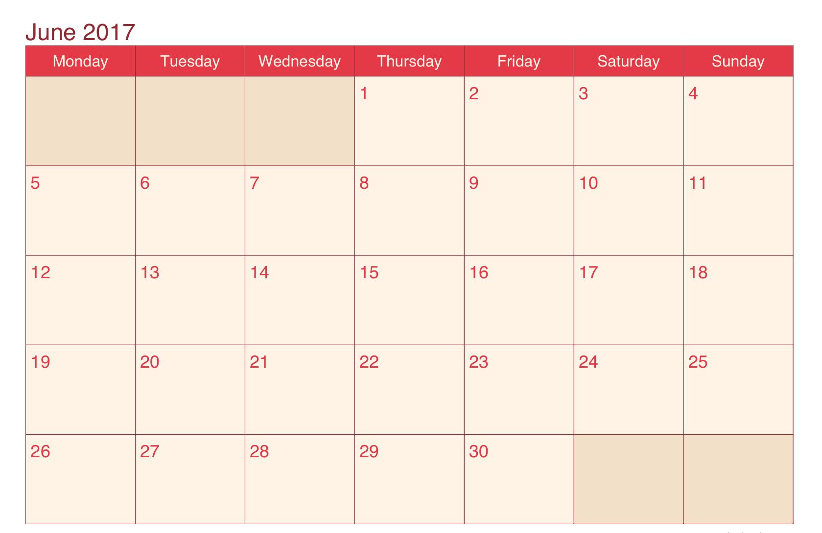 Free 2017 June Calendar Template
