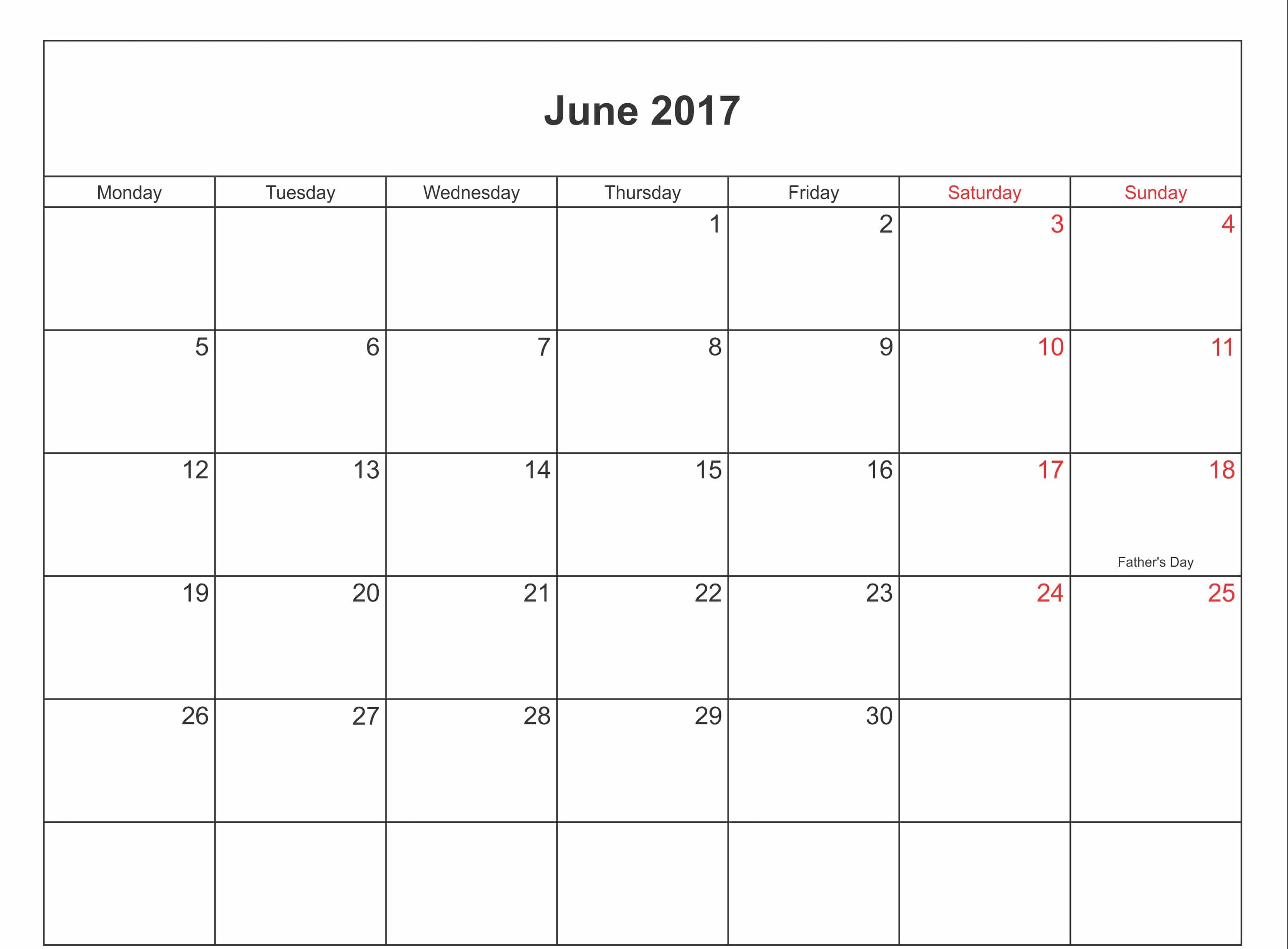 Free 2017 June Calendar With Holidays