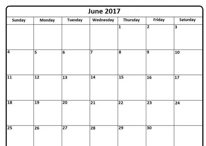 Free 2017 June Calendar