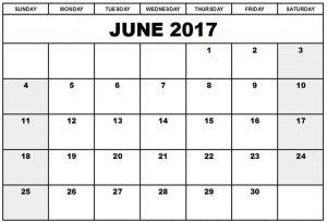 Free Blank Calendar June 2017 Download