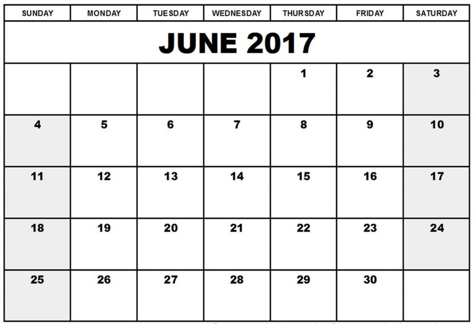 Free Blank Calendar June 2017 Download