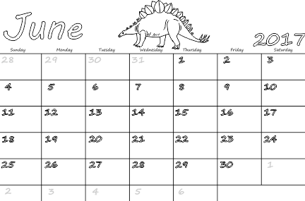 Free Calendar For June 2017 Image