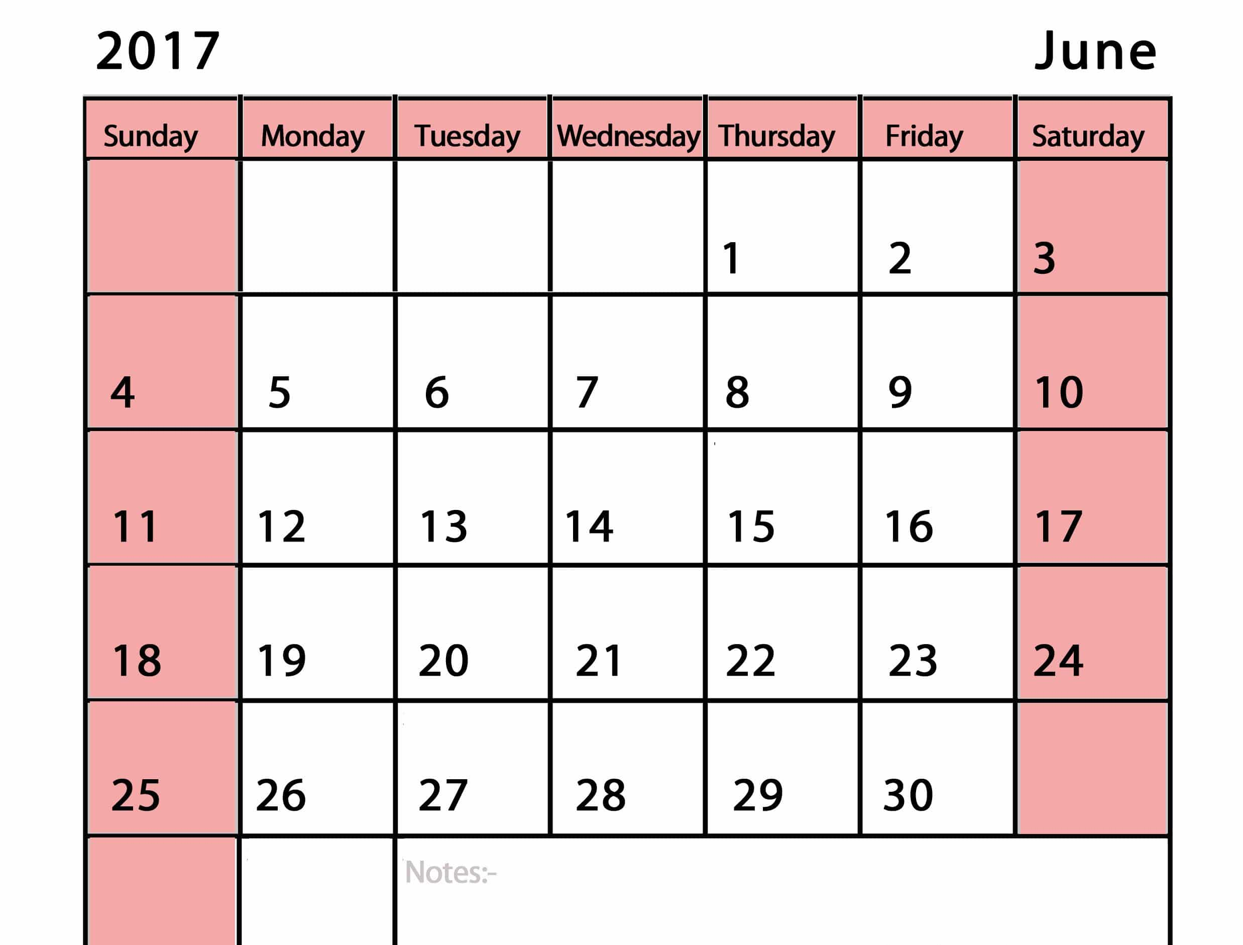 Free June 2017 Calendar UK
