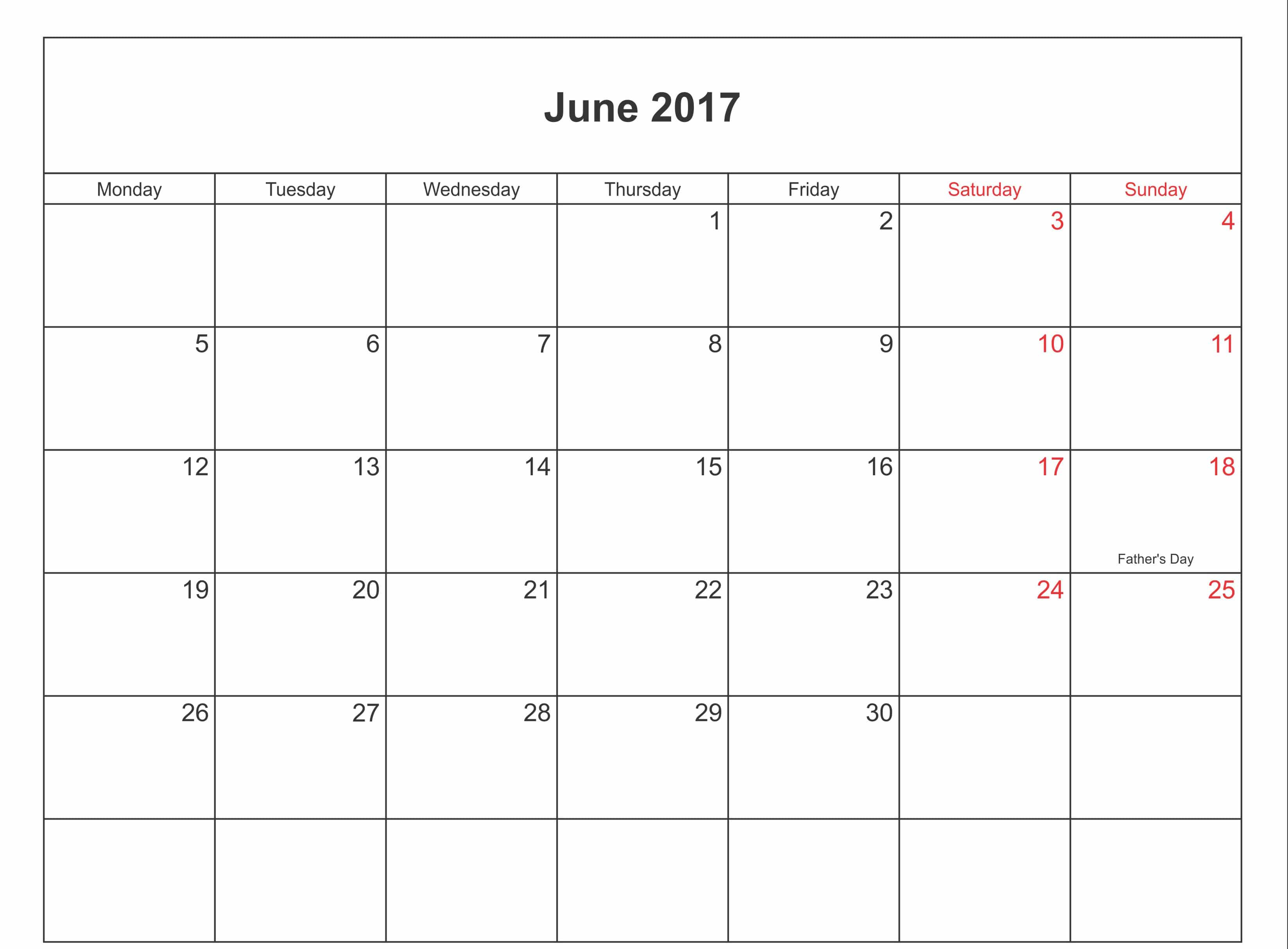 Free June 2017 Calendar With Holidays UK