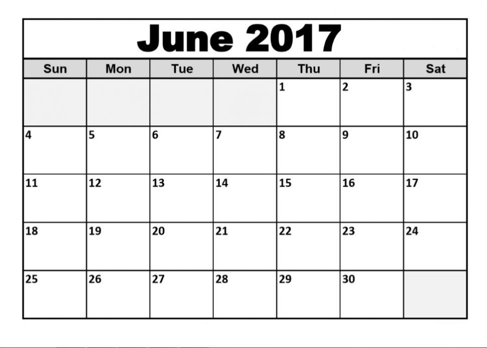 Free June 2017 Calendar With Holidays