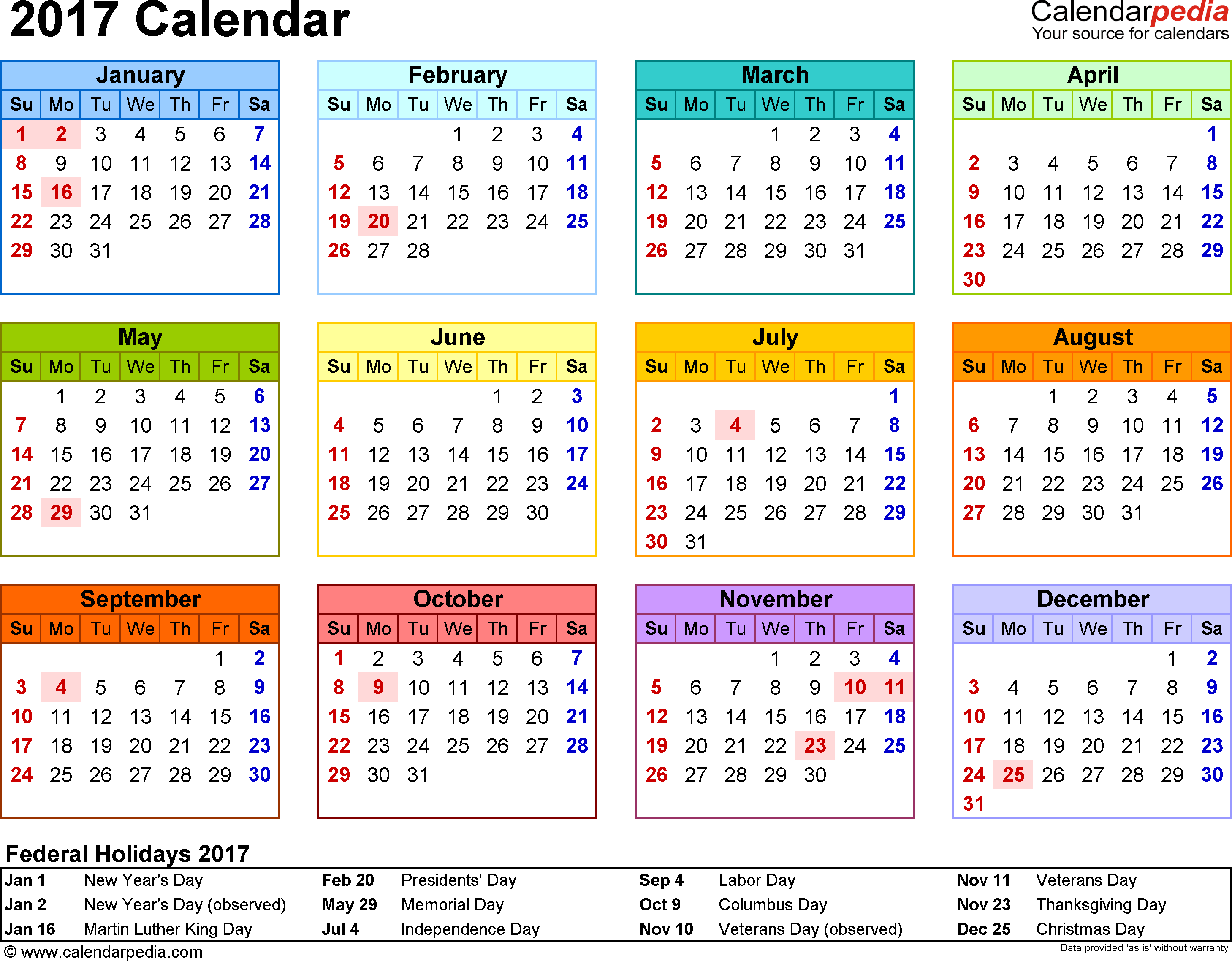 Free June 2017 Calendar With Public