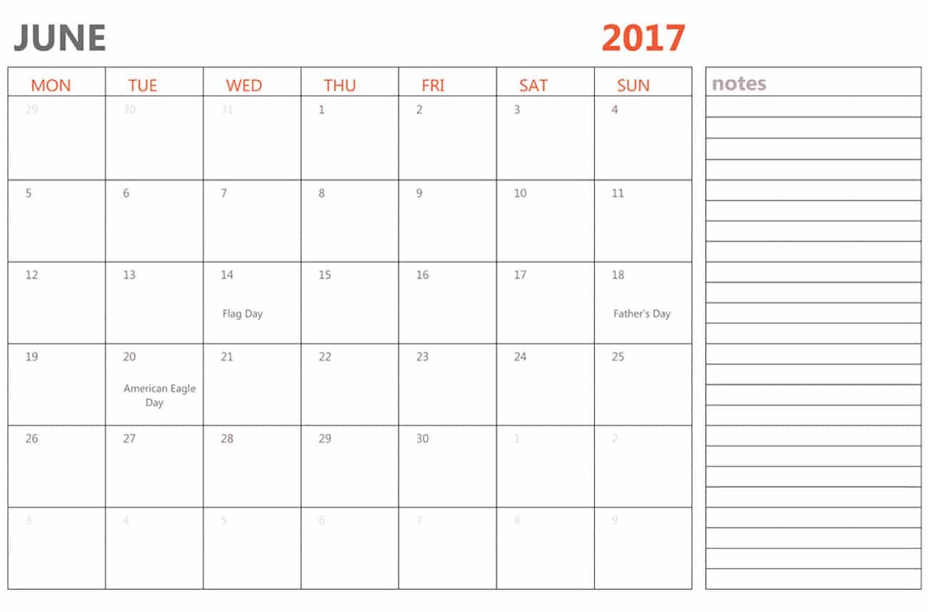 Free June 2017 Monthly Calendar