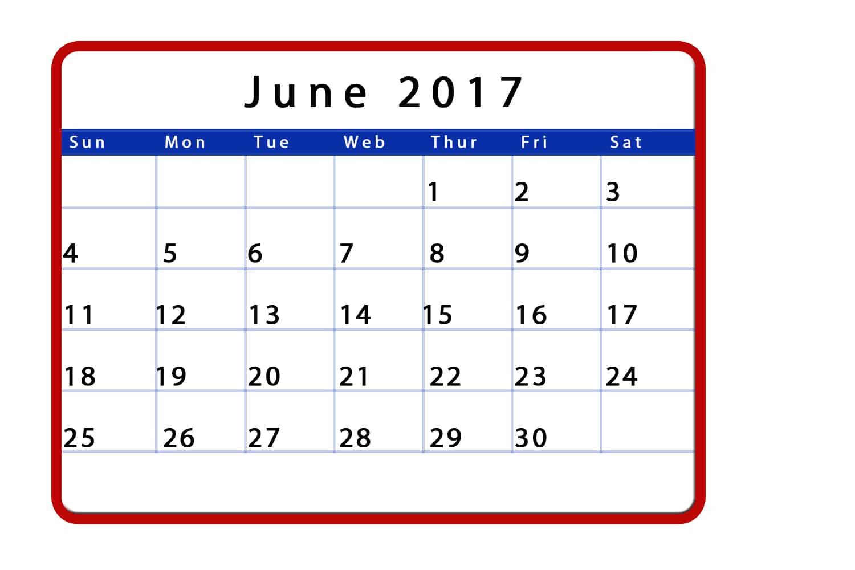 Free June 2017 Monthly Calendar Template