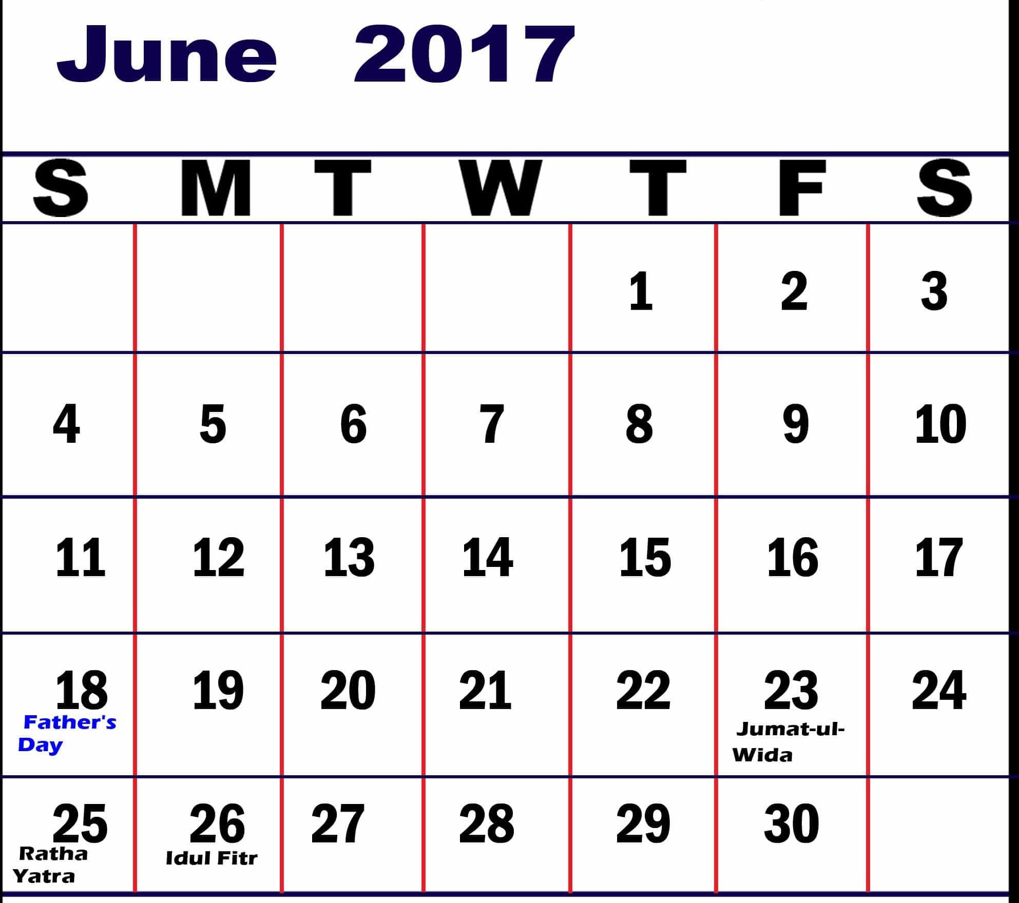 Free June 2017 calendar Chart