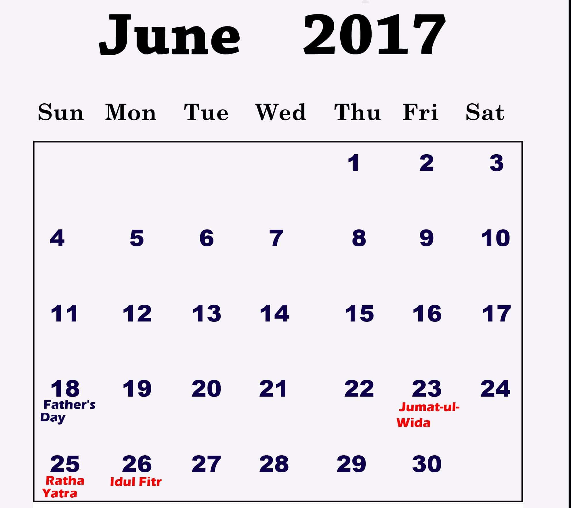 Free June 2017 calendar Download