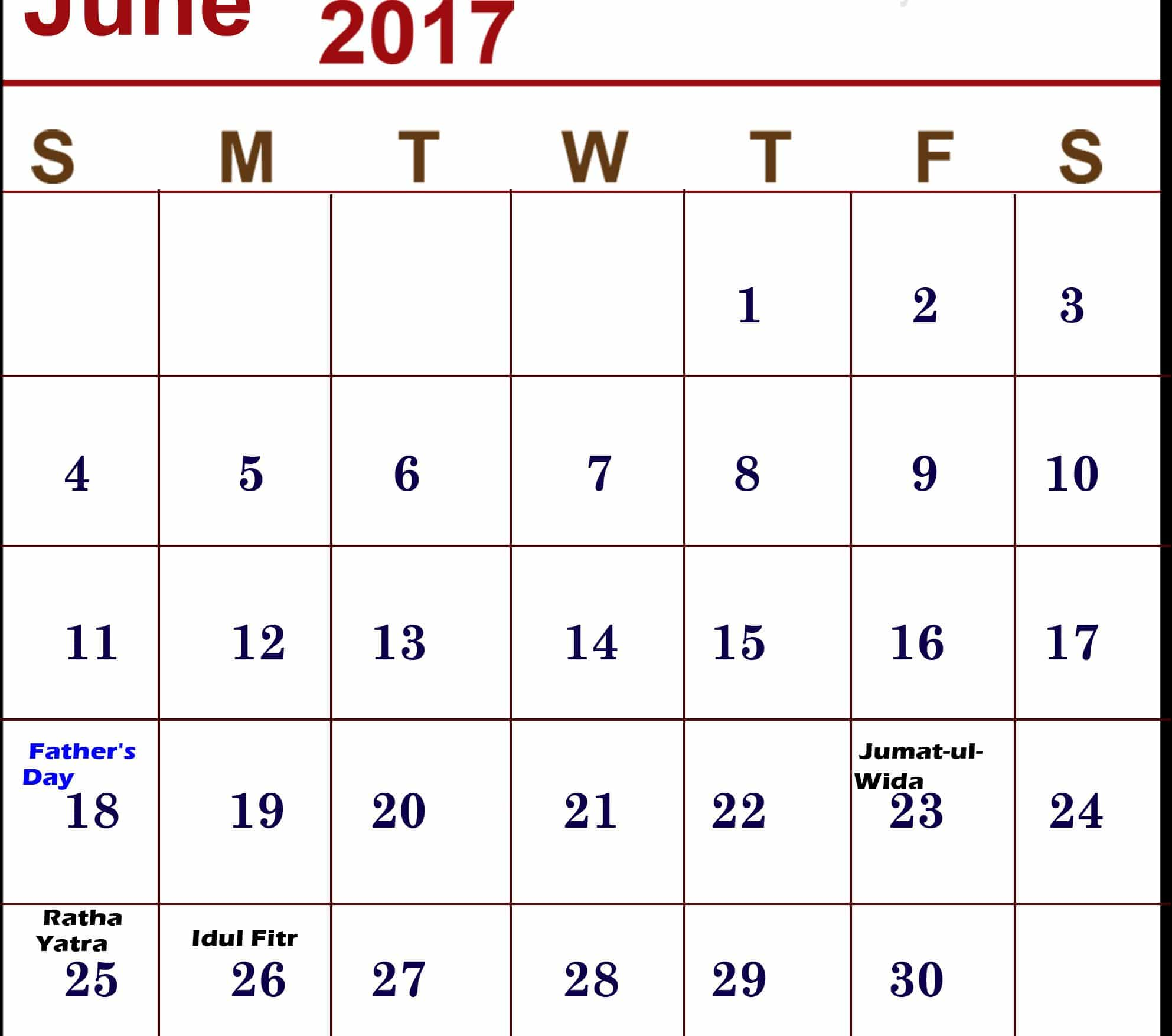 Free June 2017 calendar Image
