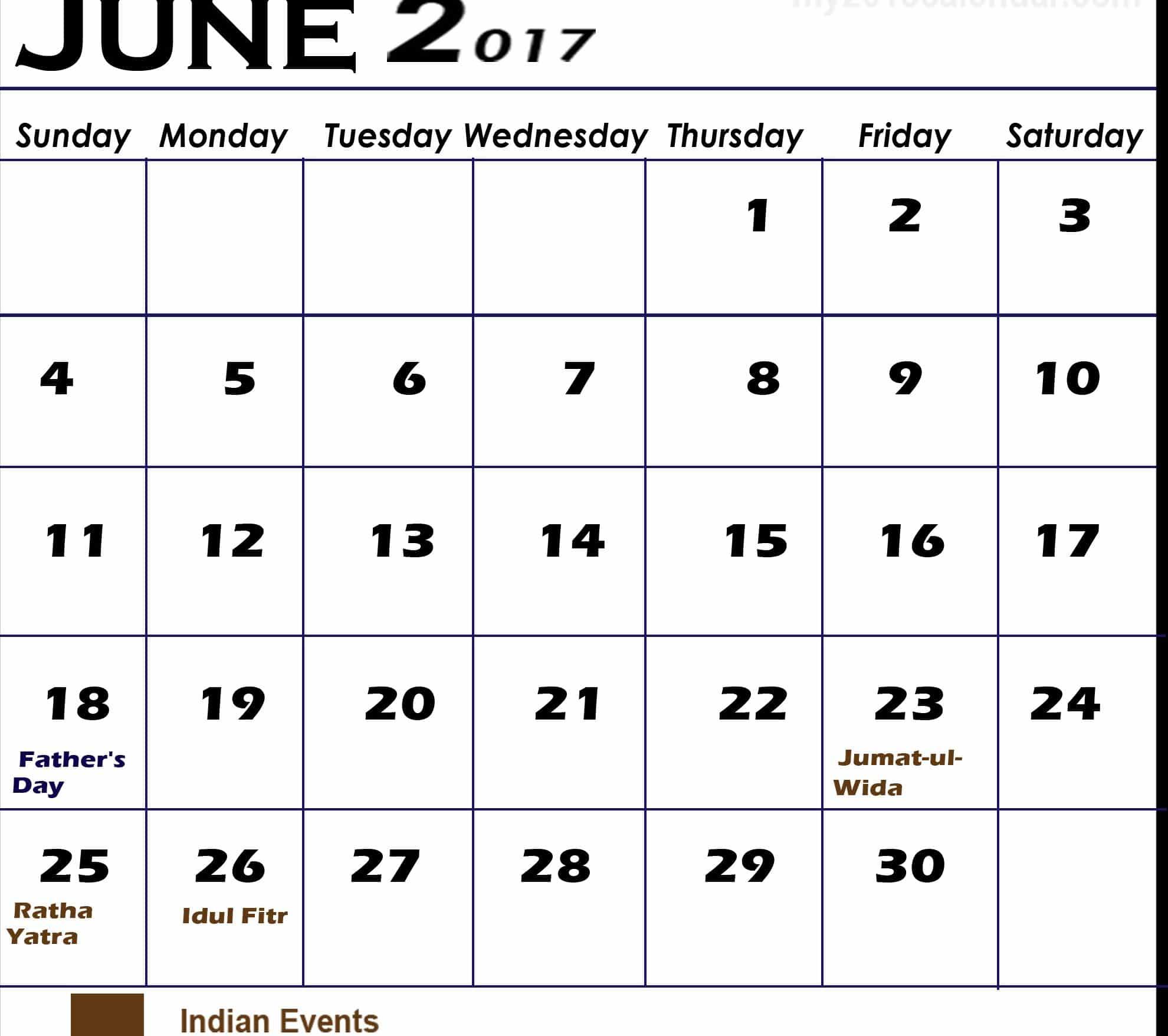 Free June 2017 calendar Pic