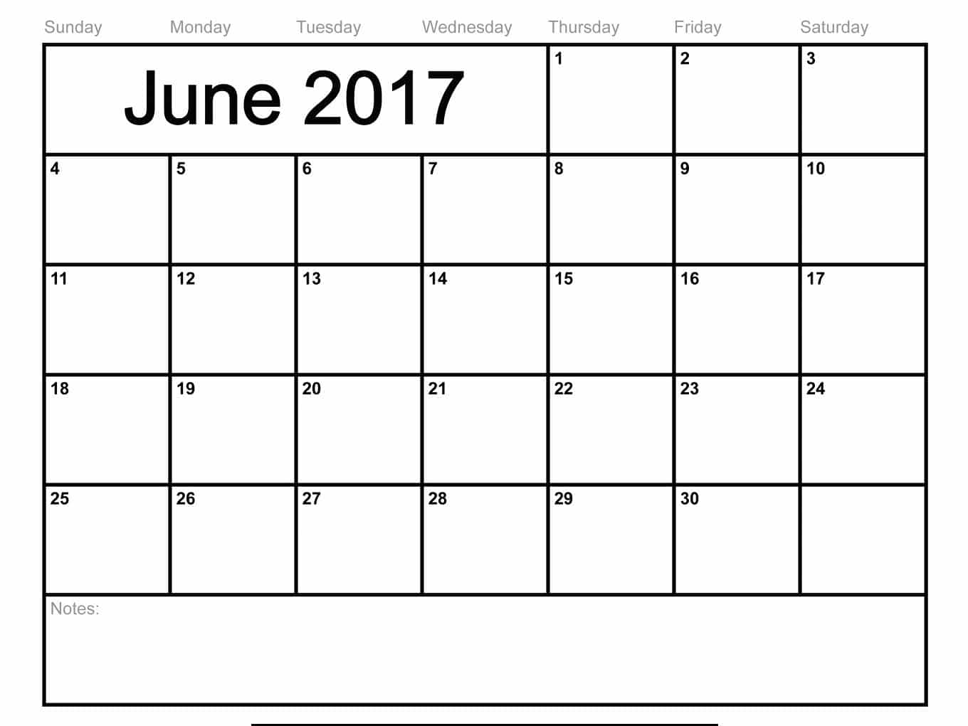 June Calendar 2017 Excel,word,pdf