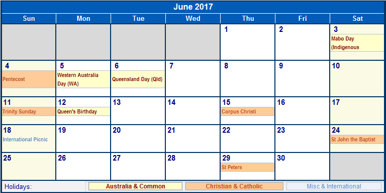 Free June Calendar 2017 In UK
