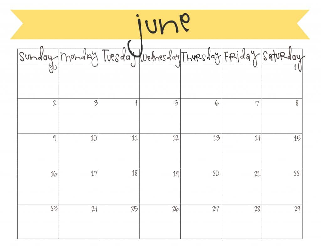Free Monthly Calendar June 2017 To Print