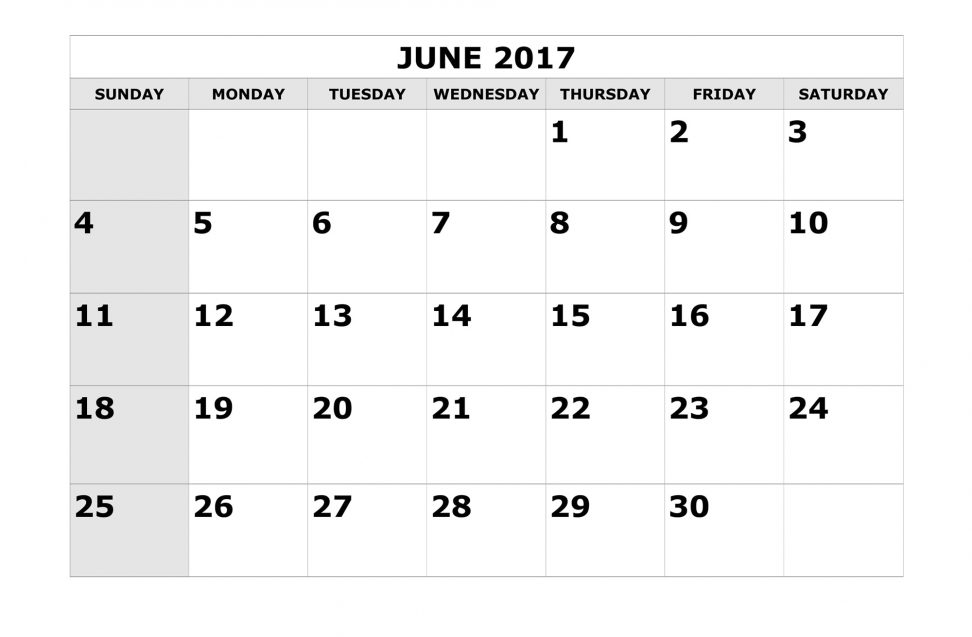Free Monthly Calendar June 2017