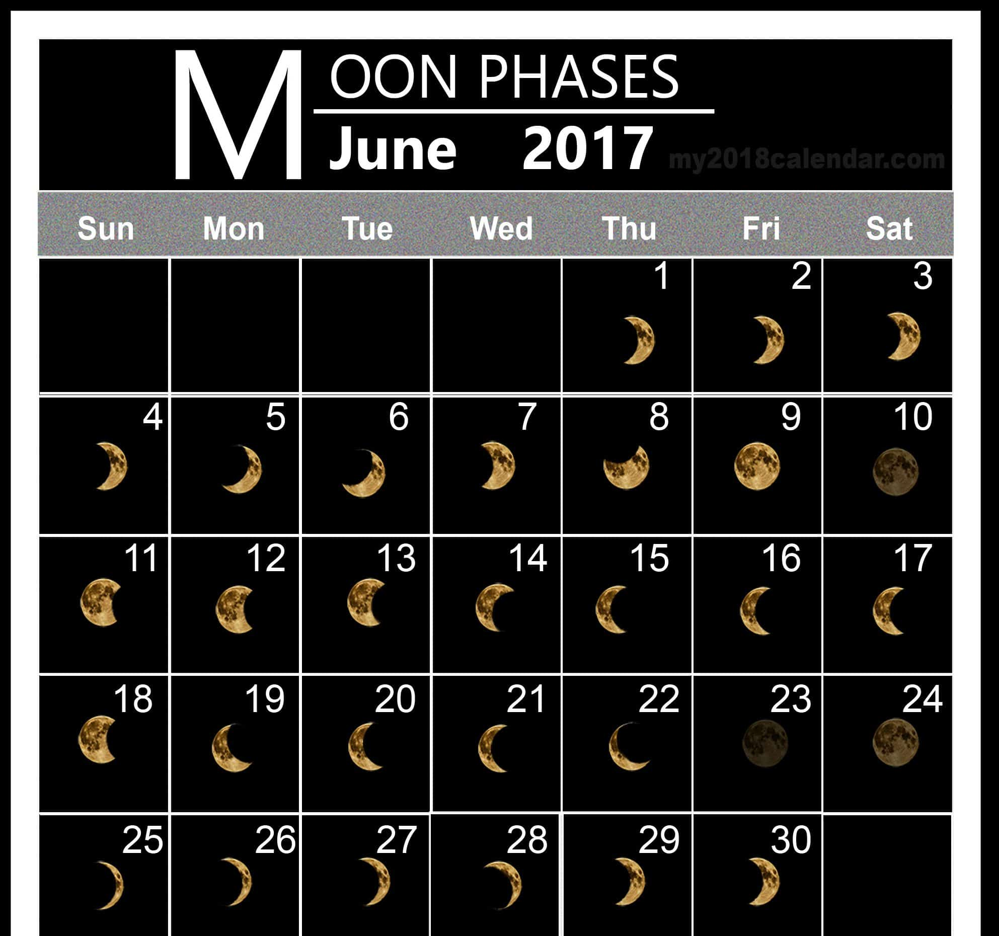 Free Monthly June 2017 Lunar Calendar