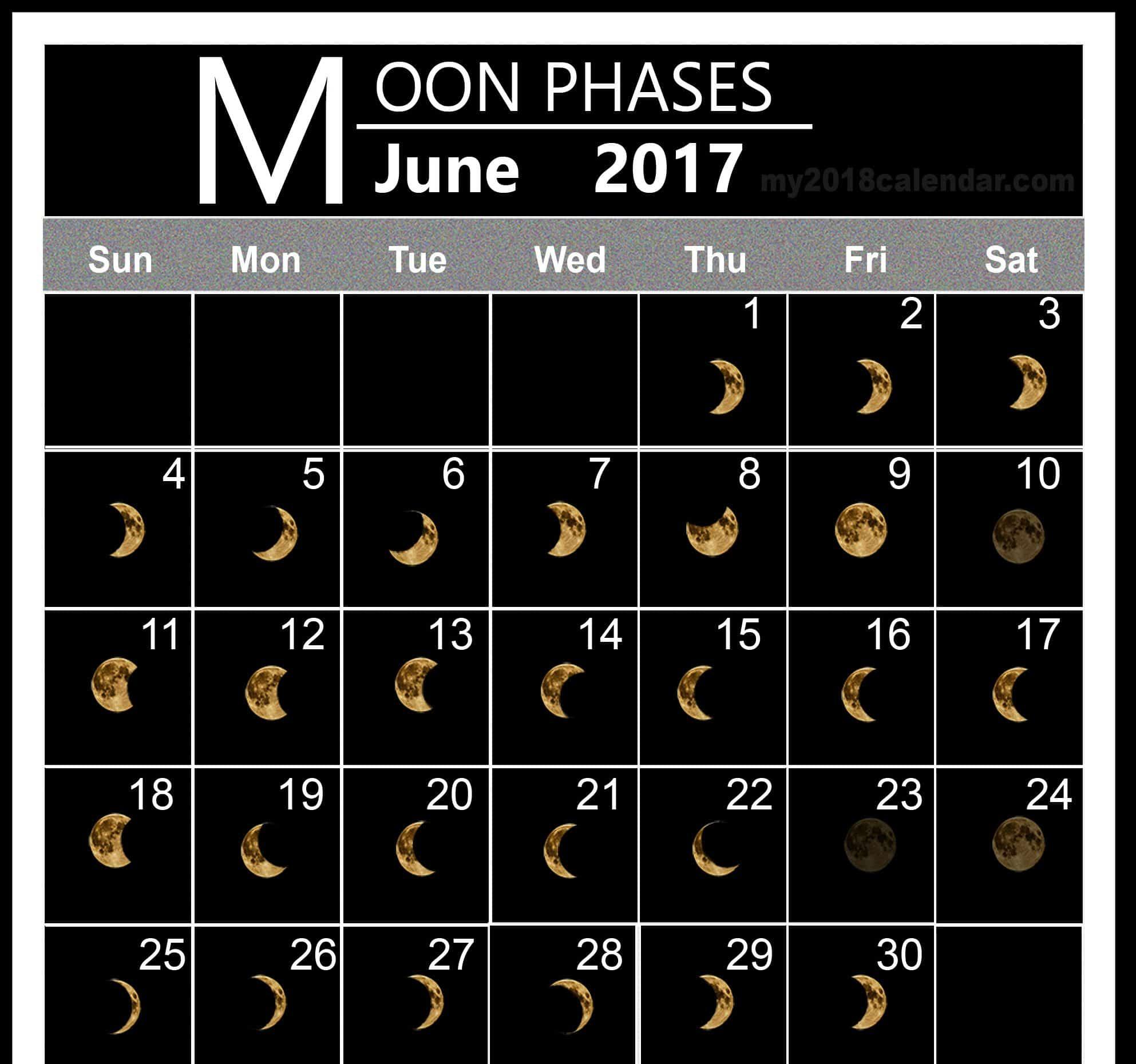 Free Monthly June 2017 Lunar Calendar