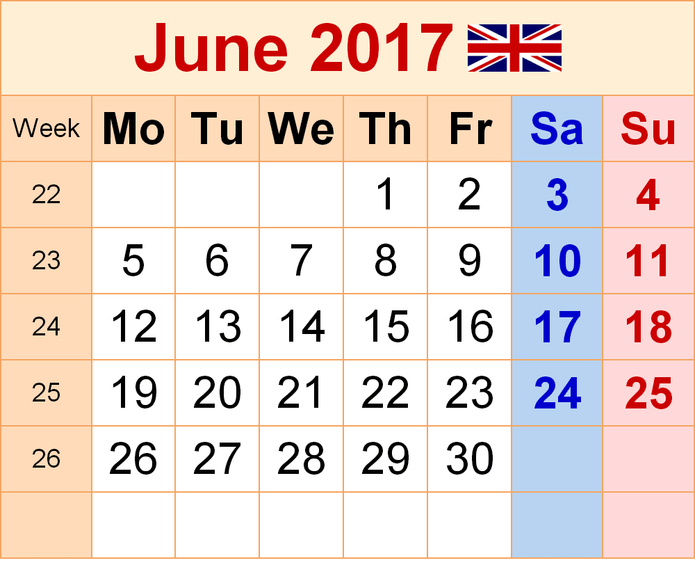 Free Printable June 2017 Calendar UK