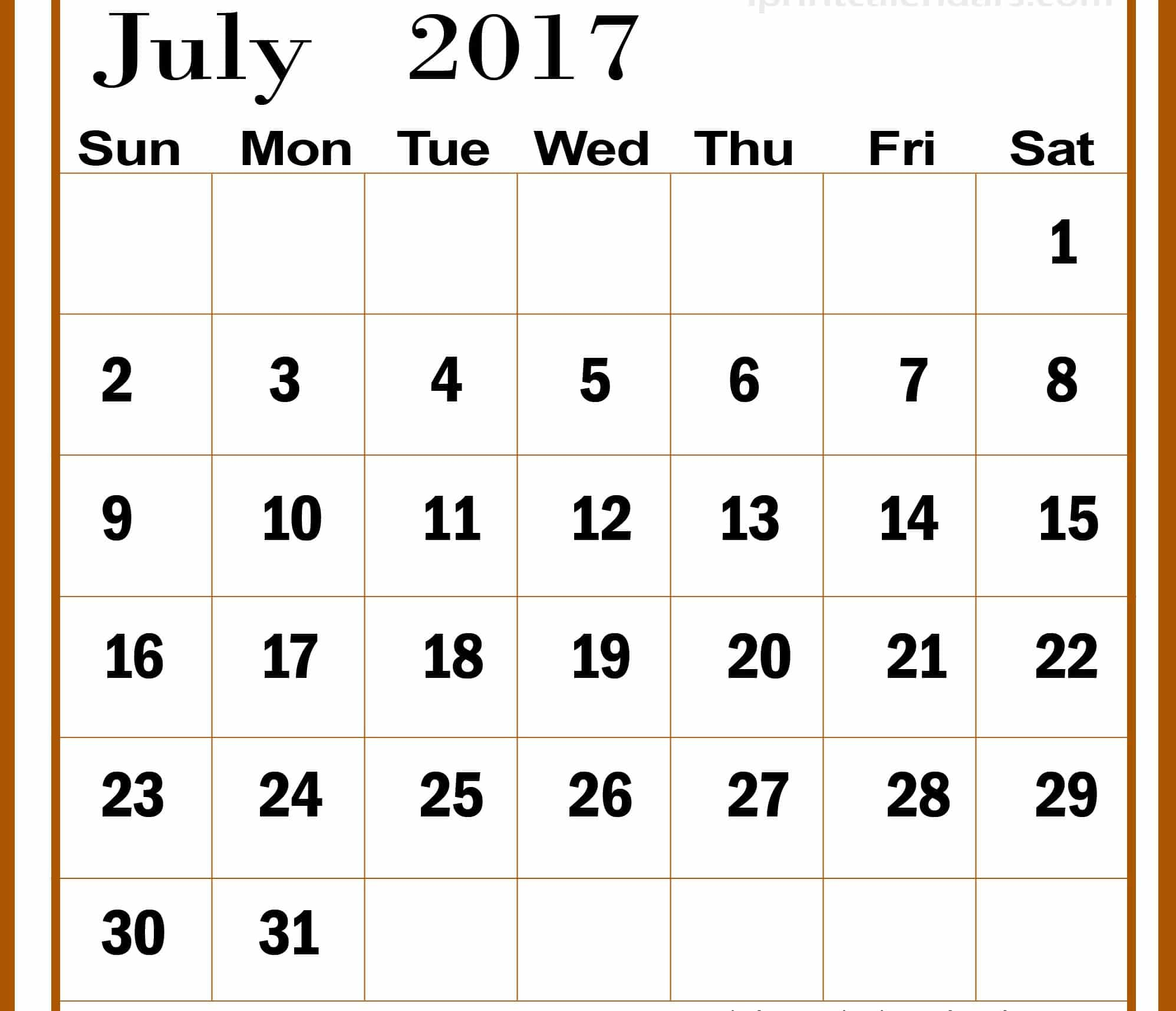 July 2017 Calendar Images