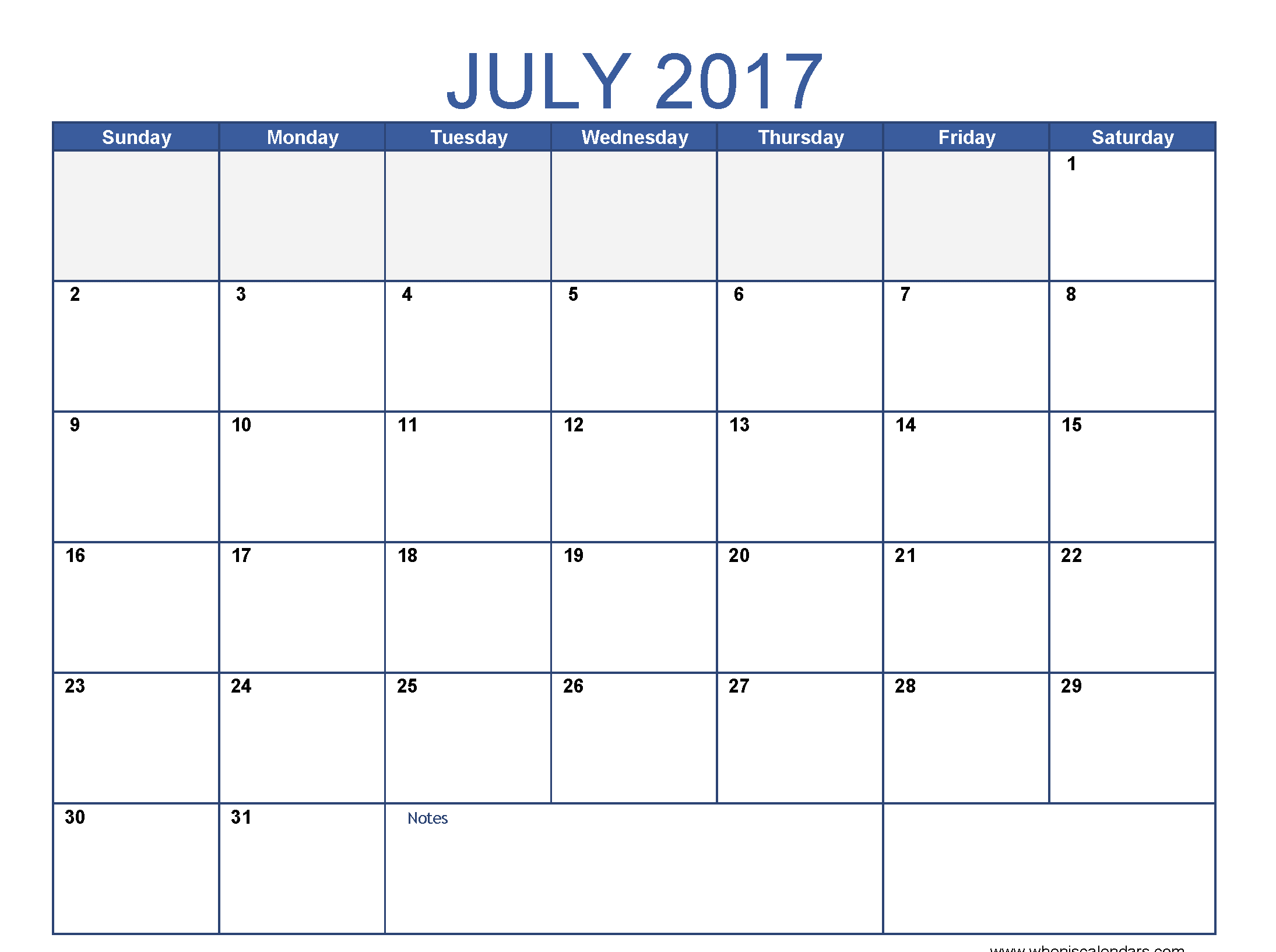July 2017 Calendar Images Download