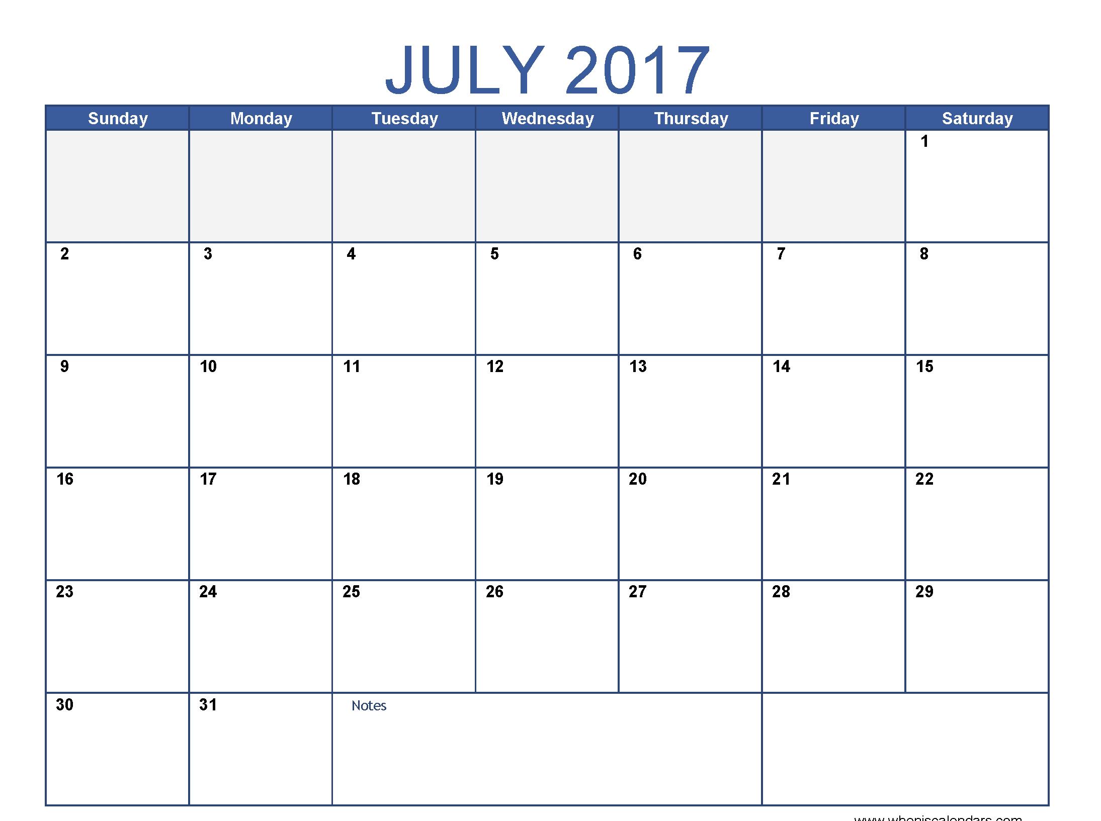 July 2017 Calendar Images Download