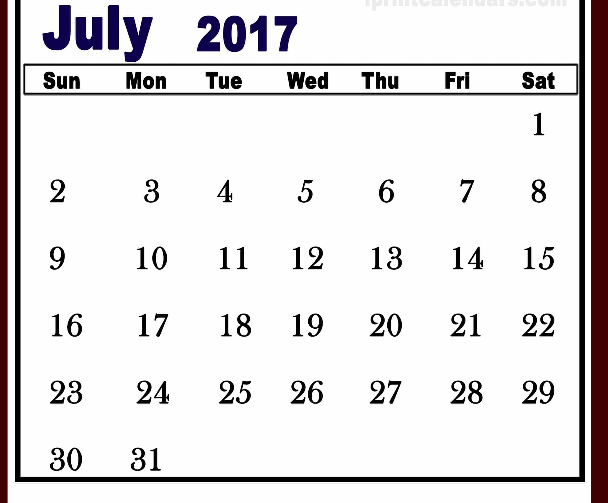 July 2017 Calendar Images