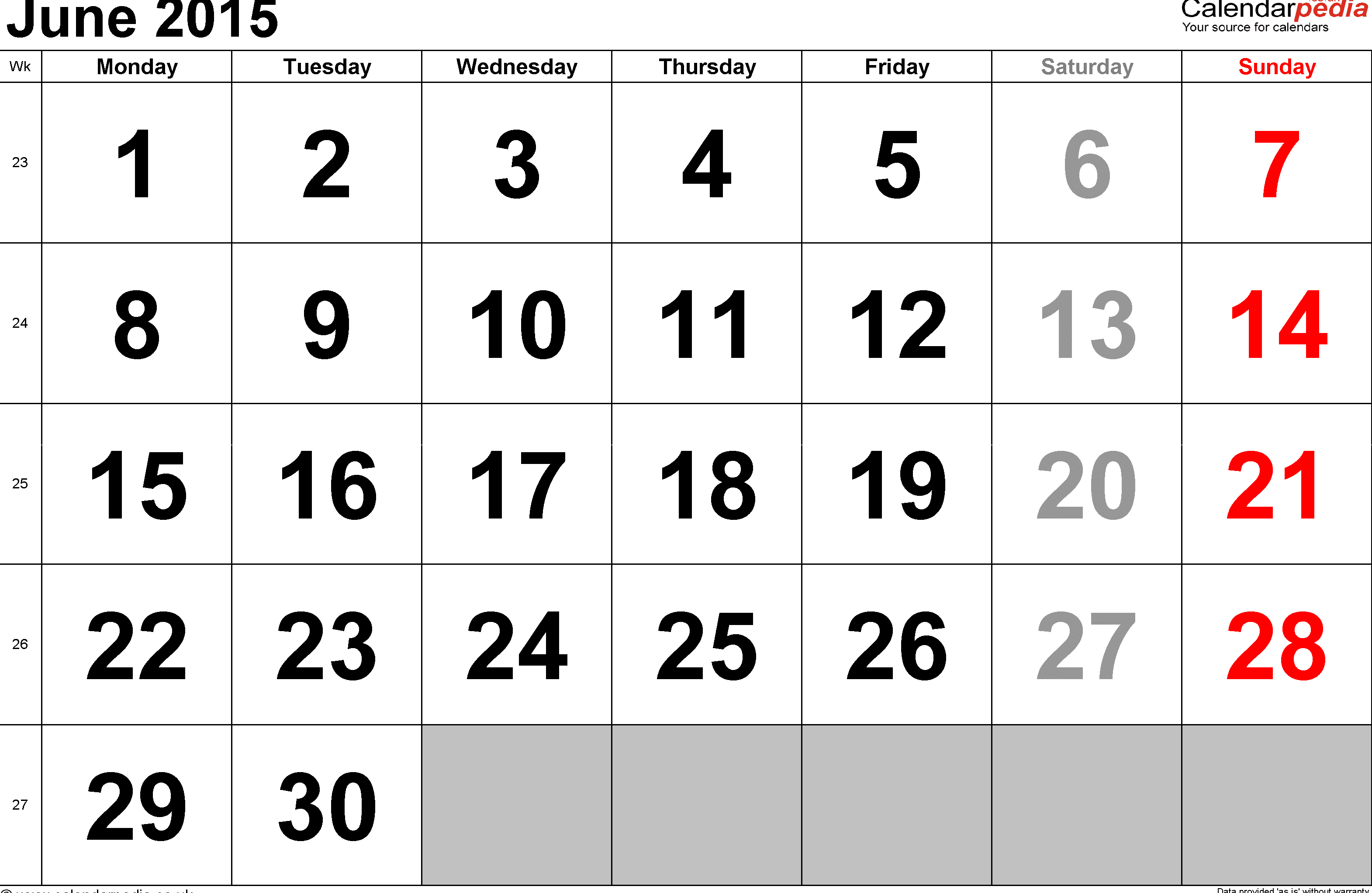 June 2017 Calendar Chart with Indian Holidays