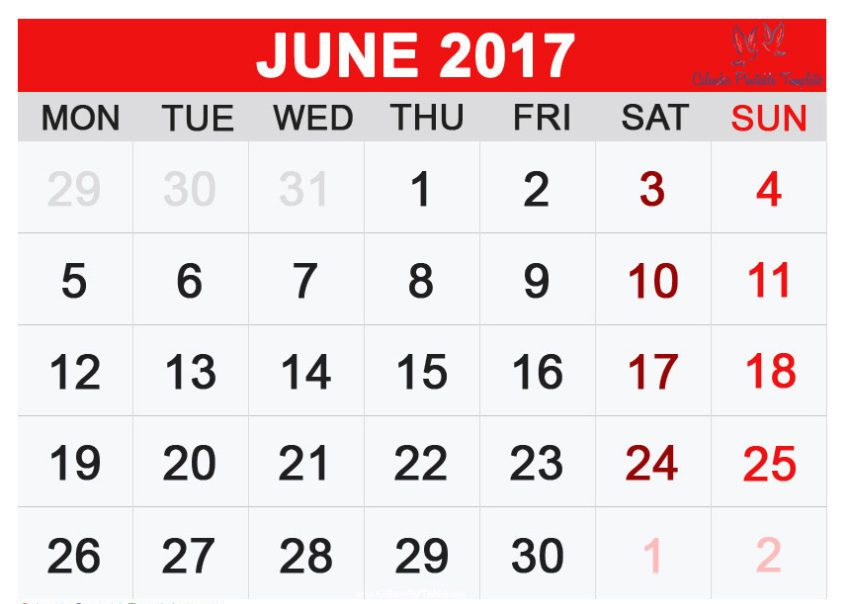 June 2017 Calendar In Tamil