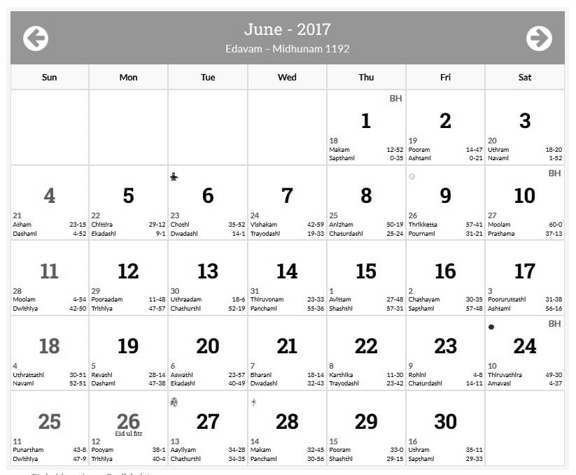 June 2017 Calendar In Malayalam Free