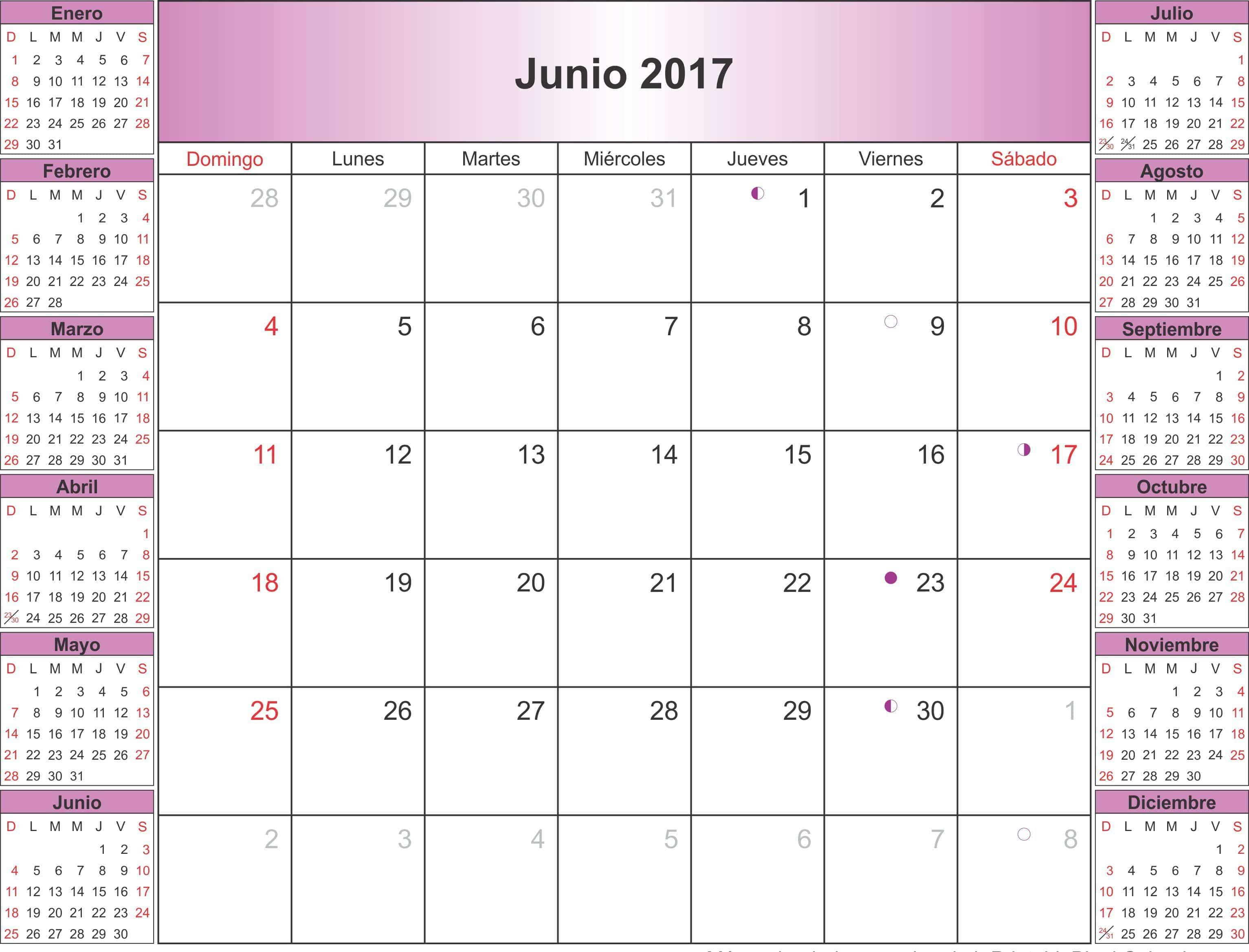 June 2017 Calendar Spanish Language