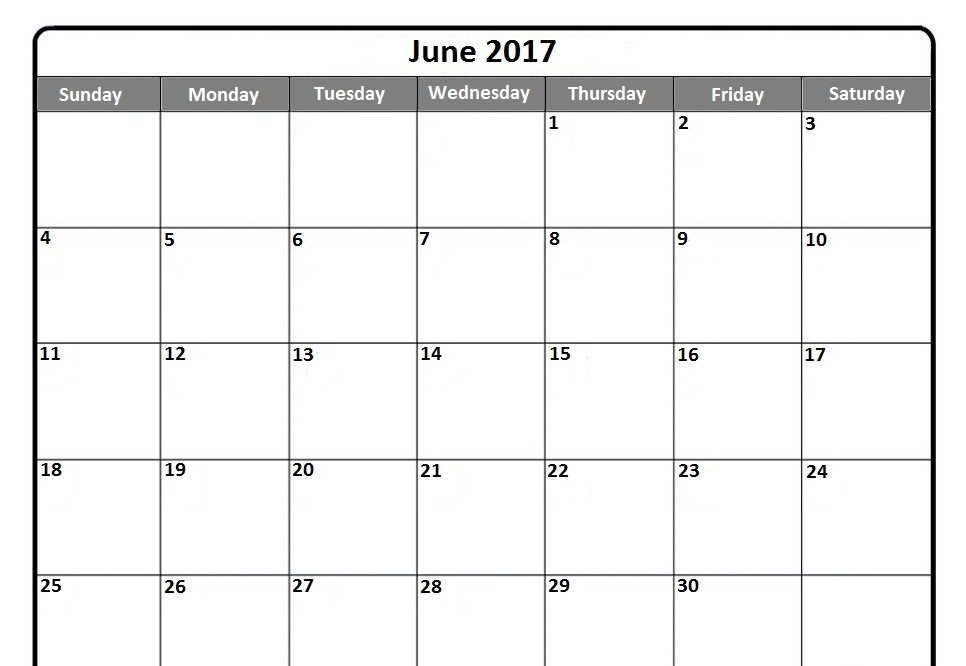 June 2017 Calendar with Notes Download