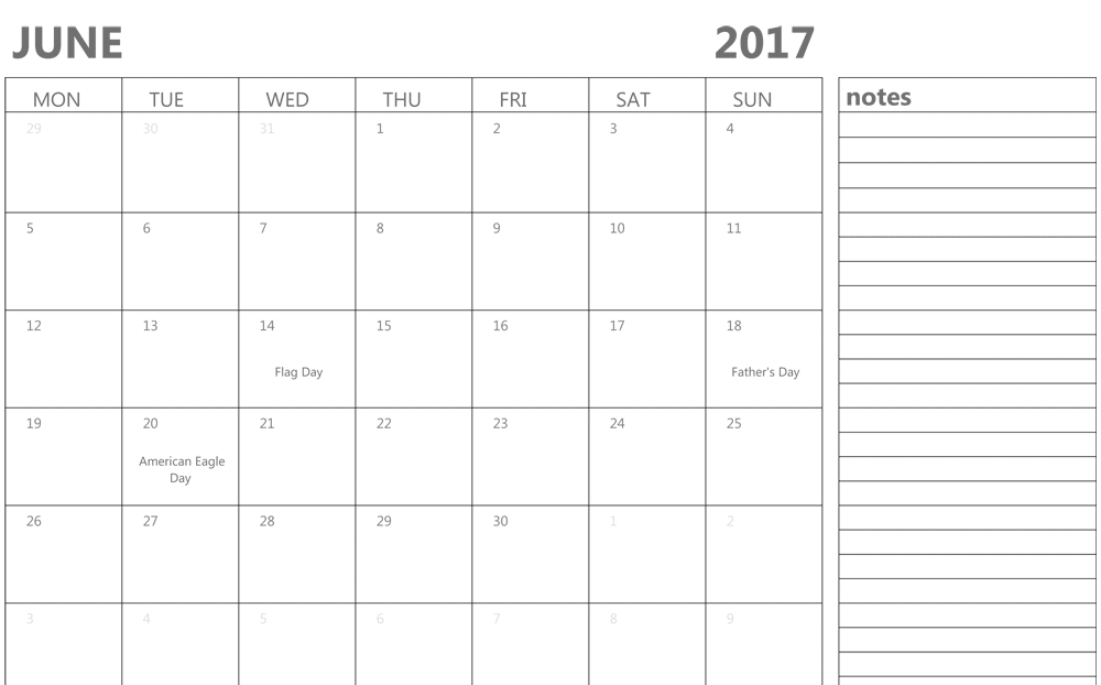 June 2017 Calendar With Notes template