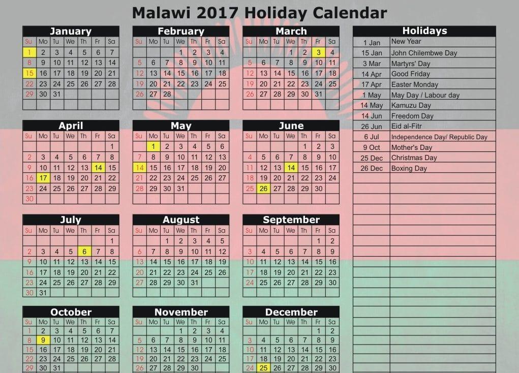 June 2017 Calendar With Public Holidays