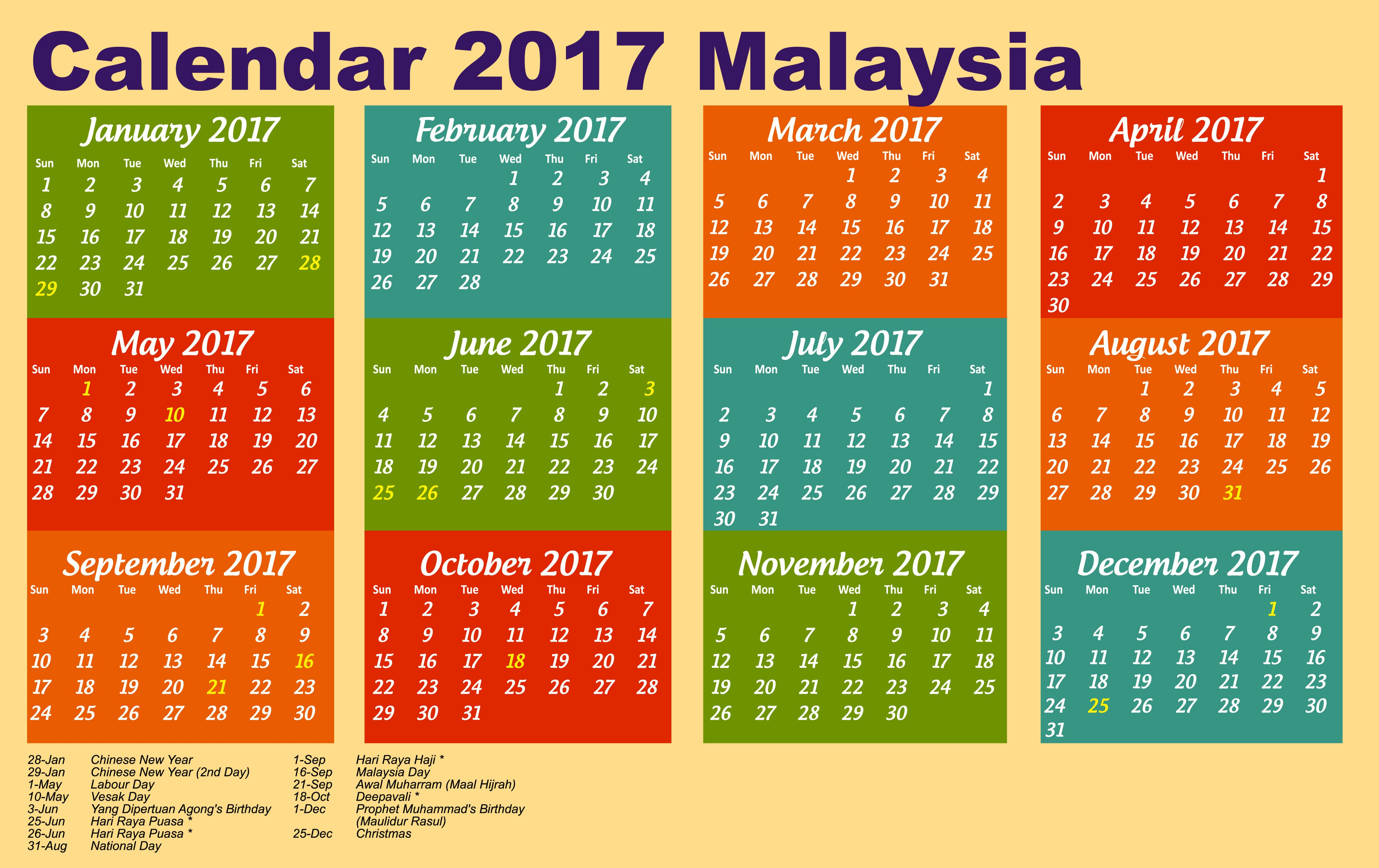 calendar 2017 Malaysia with public holiday