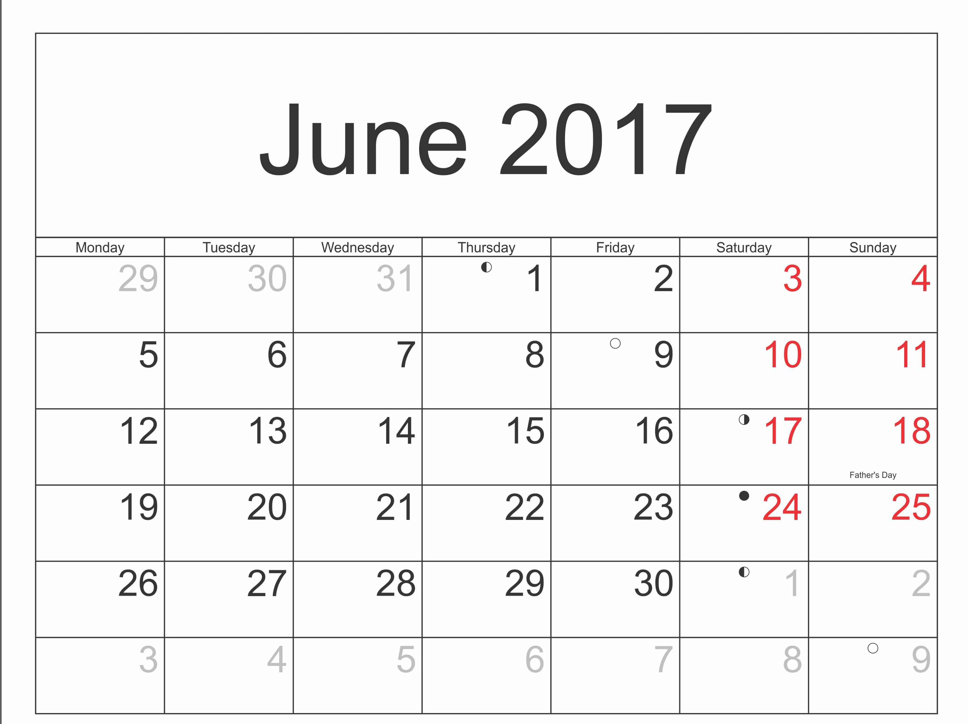 June 2017 Calendar with Indian Holiday