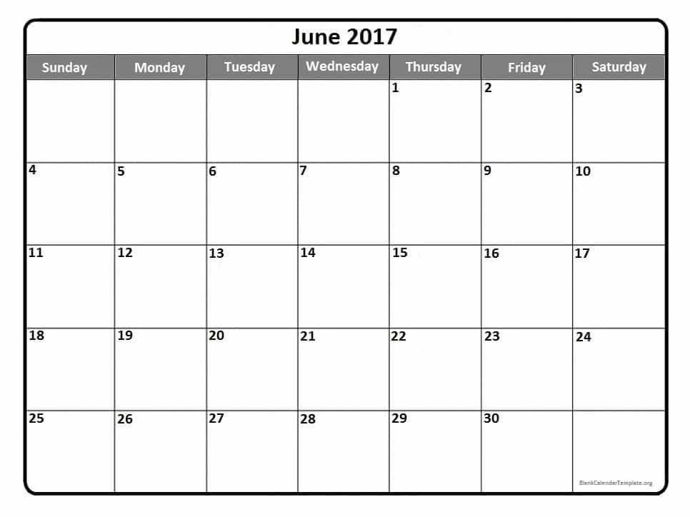 June 2017 Monthly Calendar Download