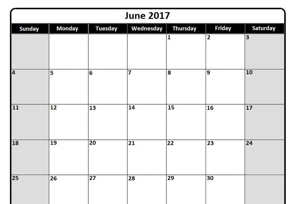 June 2017 Monthly Calendar Template