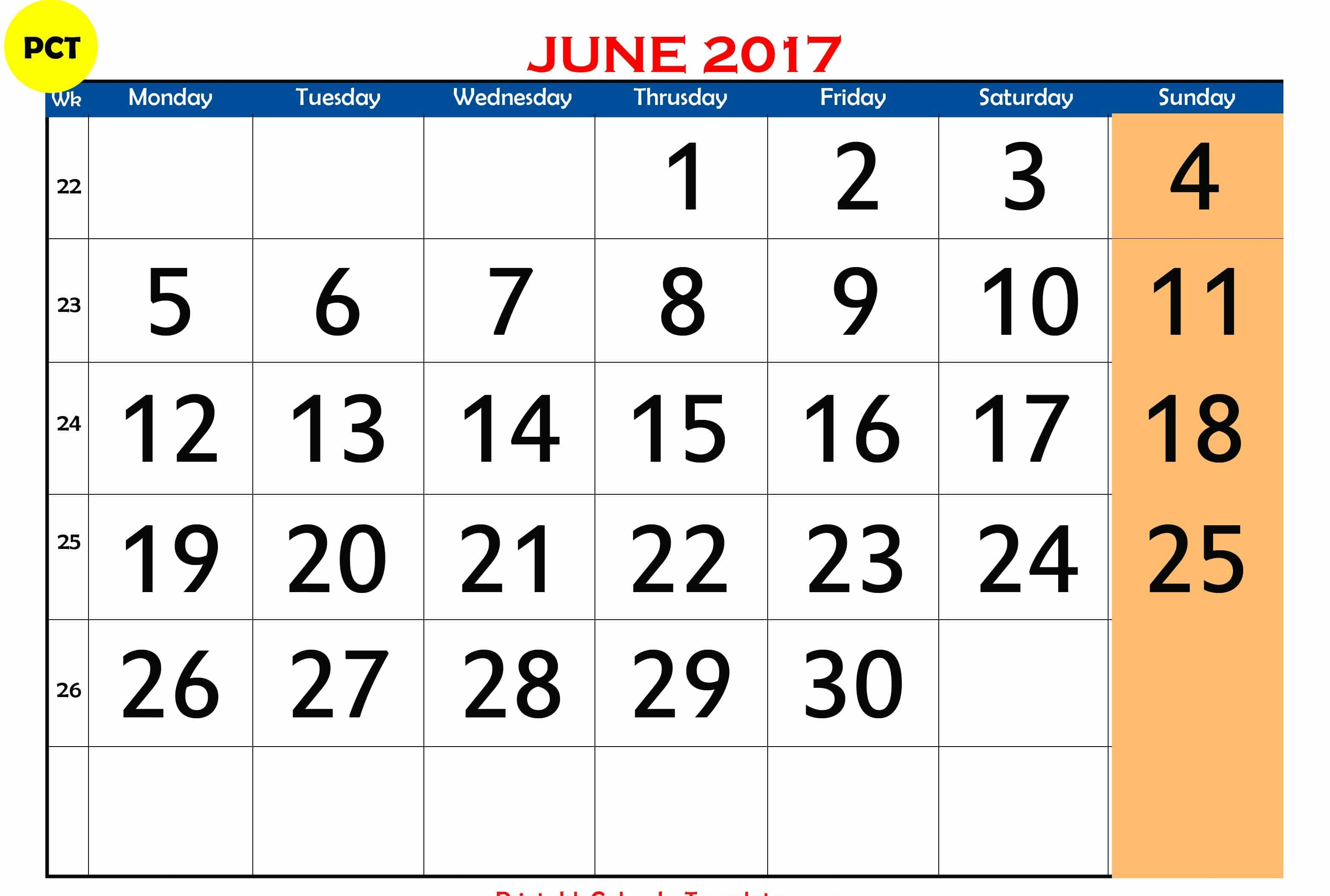 June 2017 Printable Calendar With Holidays Chart India