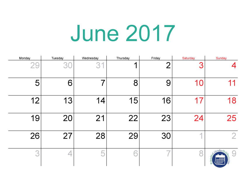 June 2017 Printable Calendar With Holidays Image India