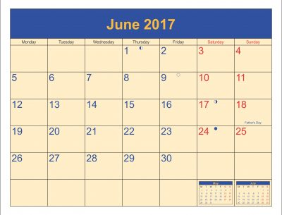 June 2017 Printable Calendar With Holidays UK