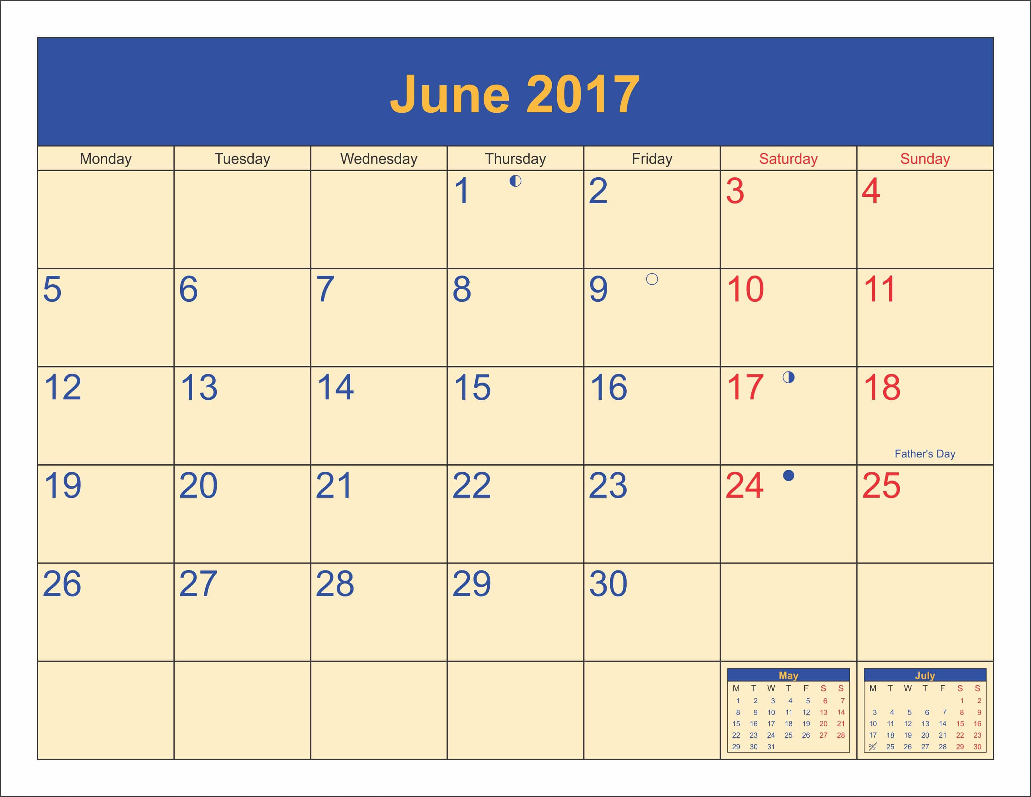 June 2017 Printable Calendar With Holidays UK